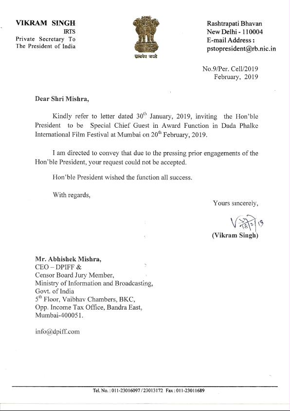 MESSAGE-FROM-PRESIDENT-OF-INDIA-TO-DPIFF - Dadasaheb Phalke