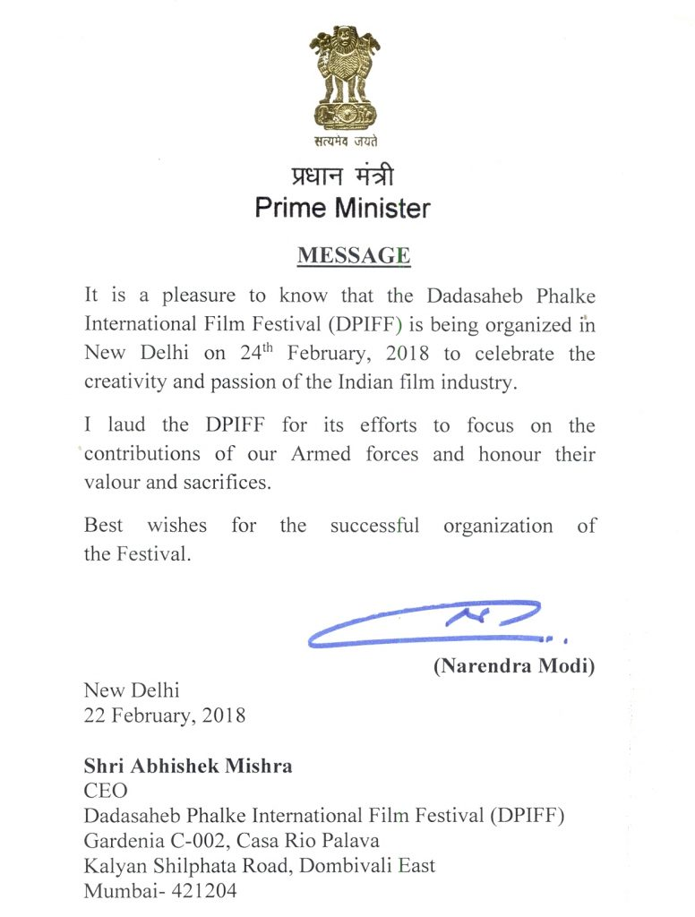 Hon. Prime Minister appreciated DPIFF Delhi 2018